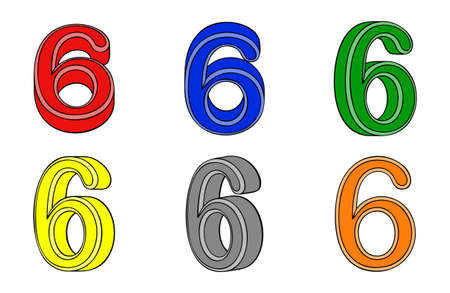 Six number  six  3d on white background Vector