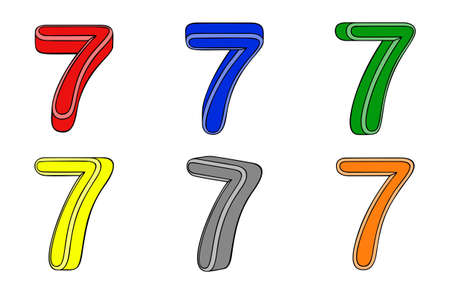 Six number  seven  3d on white background Vector