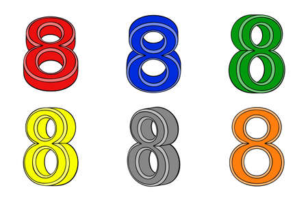 Six number  eight  3d on white background Vector