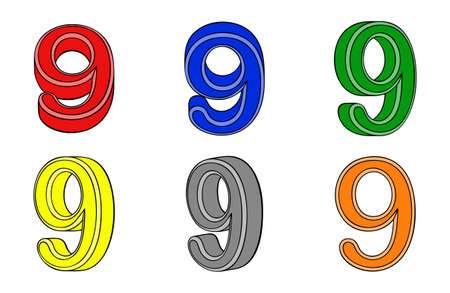 Six number  nine  3d on white background Vector