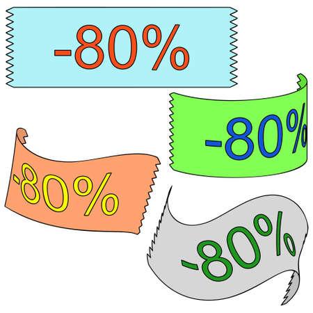 achtzig: Vier 3D-Band minus achtzig Prozent auf wei�em Hintergrund