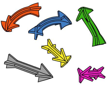 designator: Seis flechas 3D sobre un fondo blanco