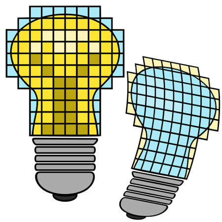 Two 3d glowing lamp on a white background Illustration