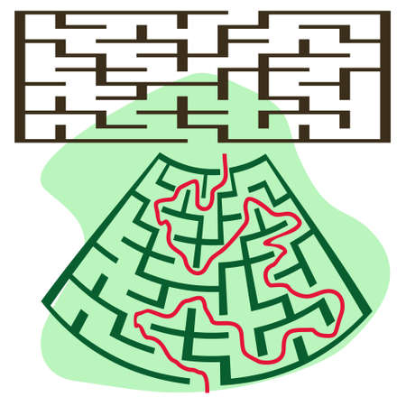 deformed: Square deformed maze on a white background Illustration