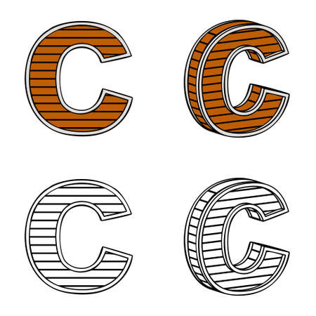 ligneous: Letter C (a block of wood) on a white background Illustration