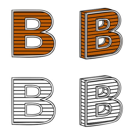 band bar: Letter B (a block of wood) on a white background