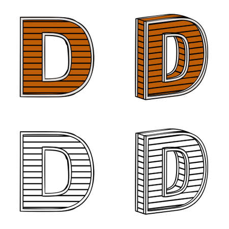 band bar: Letter D (a block of wood) on a white background