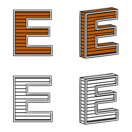 ligneous: Letter E (a block of wood) on a white background Illustration