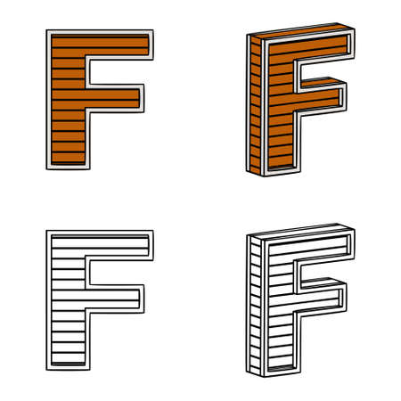 ligneous: Letter F (a block of wood) on a white background Illustration