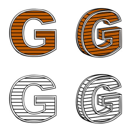 ligneous: Letter G (a block of wood) on a white background Illustration