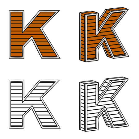 band bar: Letter K (a block of wood) on a white background