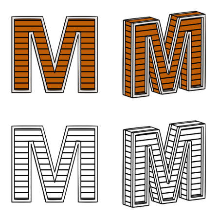 ligneous: Letter M (a block of wood) on a white background