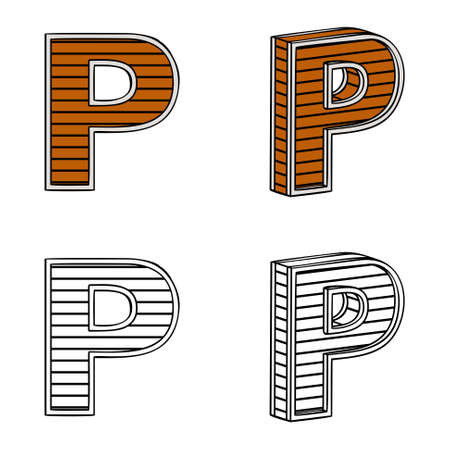 band bar: Letter P (a block of wood) on a white background Illustration