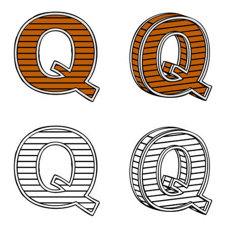 ligneous: Letter Q (a block of wood) on a white background Illustration