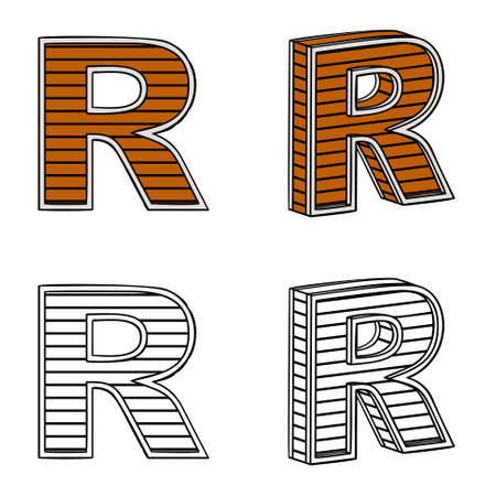 letter r: Letter R (a block of wood) on a white background