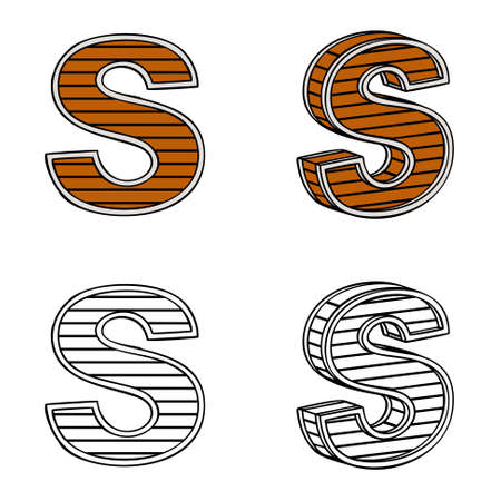 ligneous: Letter S (a block of wood) on a white background Illustration