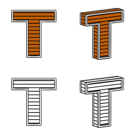 ligneous: Letter T (a block of wood) on a white background