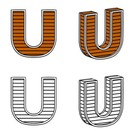 band bar: Letter U (a block of wood) on a white background