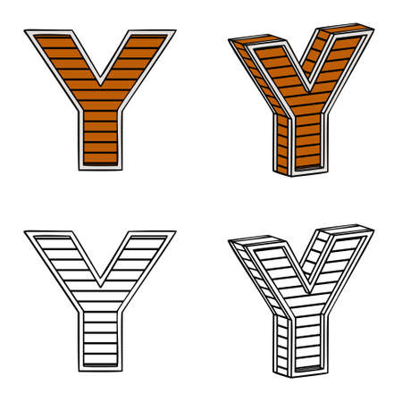 ligneous: Letter Y (a block of wood) on a white background Illustration