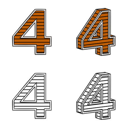 band bar: Number four (a block of wood) on a white background Illustration