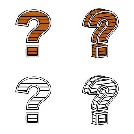 question mark: Fragezeichen (ein Block von Holz) auf einem wei�en Hintergrund