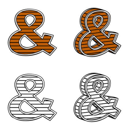 ligneous: Ampersand (a block of wood) on a white background Illustration