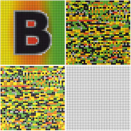 混合: 文字 B (空のセルとモザイクを混合)