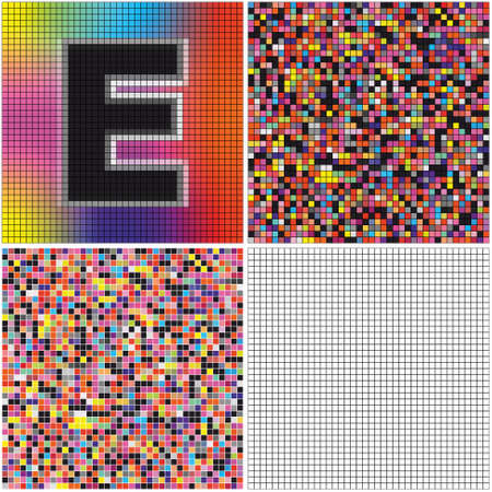 Letter E (mixed mosaic with empty cells)