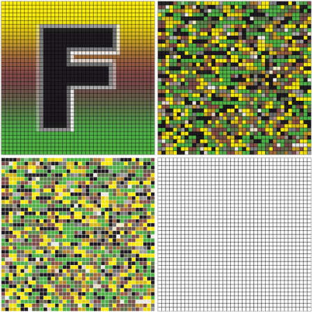 Letter F (mixed mosaic with empty cells)