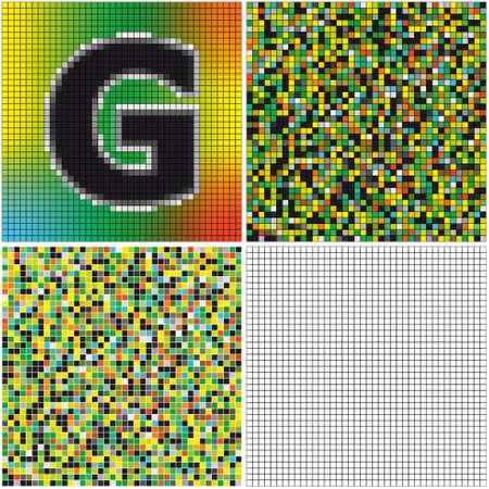 混合: 手紙 G (空のセルとモザイクを混合)