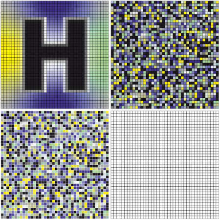 mixed: Letter H (mixed mosaic with empty cells) Illustration