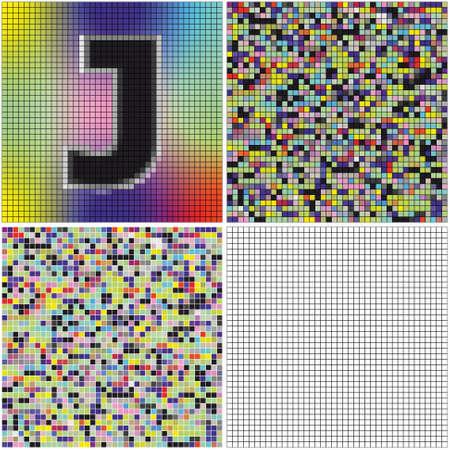 混合: 手紙 J (空のセルとモザイクを混合)