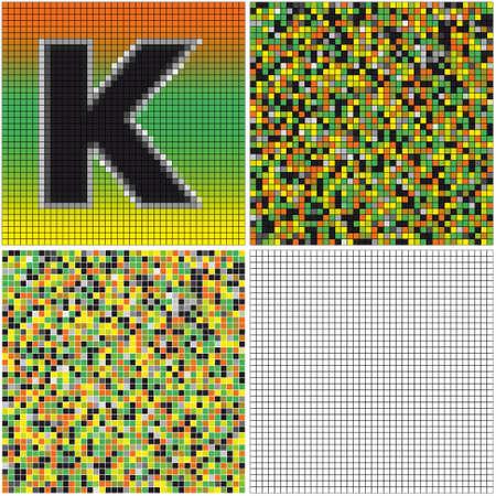 混合: 手紙 K (空のセルとモザイクを混合)  イラスト・ベクター素材