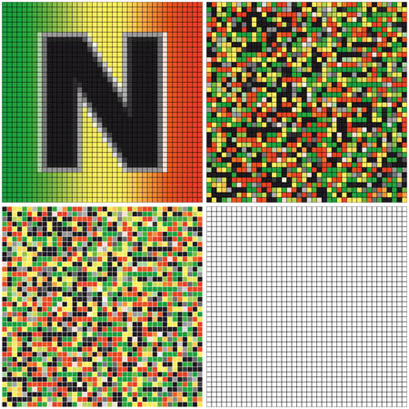 Letter N (mixed mosaic with empty cells)