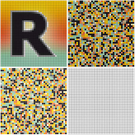 Letter R (mixed mosaic with empty cells)
