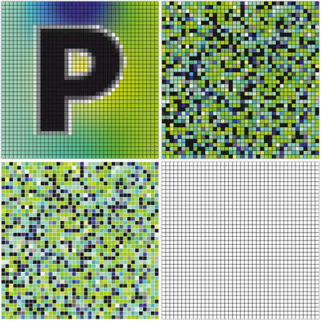irregularity: Letter P (mixed mosaic with empty cells) Illustration