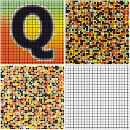 混合: 手紙 Q (空のセルとモザイクを混合)