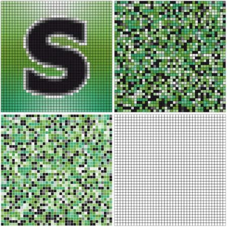 混合: S (空のセルとモザイクを混合)  イラスト・ベクター素材