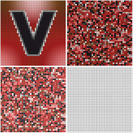 Letter V (mixed mosaic with empty cells) Çizim