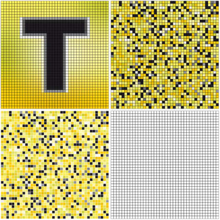 t cell: Letter T (mixed mosaic with empty cells) Illustration