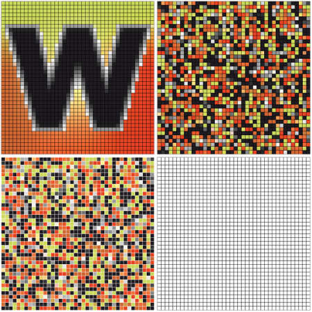 Letter W (mixed mosaic with empty cells)