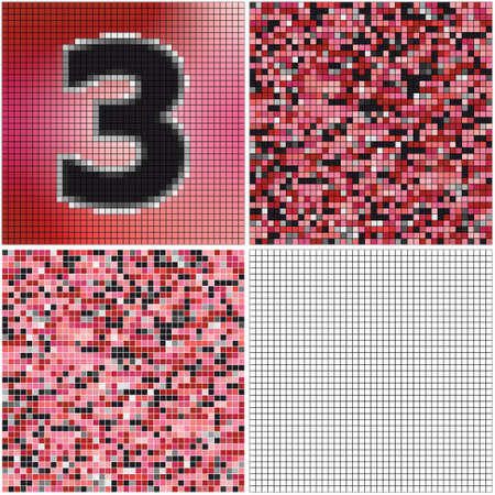 Number three (mixed mosaic with empty cells) Çizim