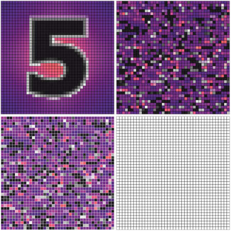 Number five (mixed mosaic with empty cells) Çizim