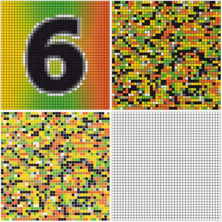 混合: Number six (mixed mosaic with empty cells)  イラスト・ベクター素材