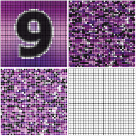 Number nine (mixed mosaic with empty cells)