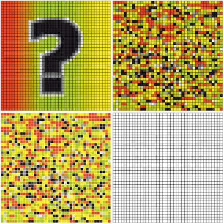 question mark: Fragezeichen (gemischte Mosaik mit leeren Zellen) Illustration