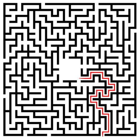 brainteaser: Black square maze (22x22) with help on a white background Illustration