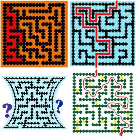 intricacy: Four square maze (9x9) with help on a white background