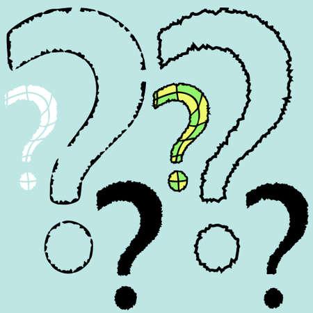 question mark: Set von Fragezeichen auf blauem Hintergrund