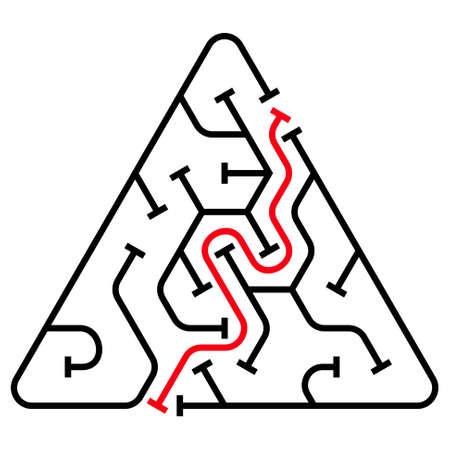 conundrum: Black triangular maze with help on a white background
